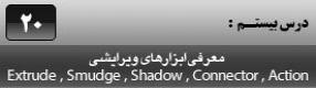 آموزش فری هند ام ایکس ( Freehand MX ) ویژه طراحی و گرافیک ( درس بیستم ) – معرفی ابزار های ویرایشی ( Extrude ) ، ( Smudge ) ، ( Shadow ) ، ( Connector ) ، ( Action ) و توضیح عملکرد و پارامتر های آنها